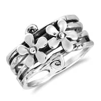 Handmade Adorable Duo Daisies Floral Sterling Silver Ring (Thailand)