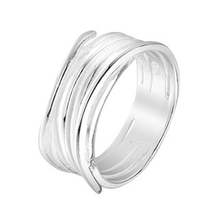 Handmade Modern Endless Waves Wrap Sterling Silver Ring Thailand