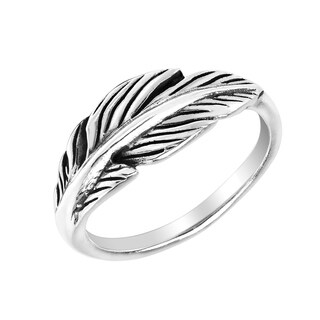 Handmade Spiritual Feather Wrap Sterling Silver Ring Thailand
