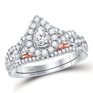 14kt Two-tone Gold Womens Pear Diamond Bellissimo Bridal Wedding Engagement Ring Band Set 1.00 Cttw