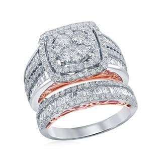 208f2092842d7 14kt Two-tone White Gold Womens Round Diamond Cluster Bridal Wedding  Engagement Ring Band Set