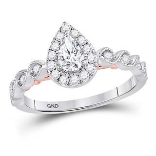 14kt Two-tone White Rose Gold Womens Pear Diamond Teardrop Bellina Bridal Wedding Engagement Ring 3/4 Cttw