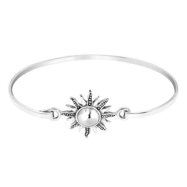 Handmade Stylized Mystical Shining Sun Sterling Silver Bracelet (Thailand). Opens flyout.