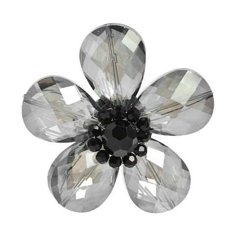 Handmade Beautiful Smoky Daisy Glass Floral Prism Pin-Brooch (Thailand)