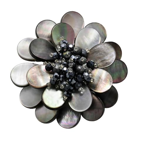 Handmade Shades of Black & Grey Mother of Pearl Flower Blossom Brooch Pin (Thailand)