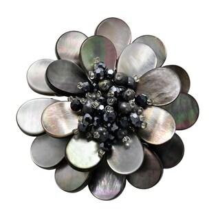 Handmade Shades of Black & Grey Mother of Pearl Flower Blossom Brooch Pin (Thailand)