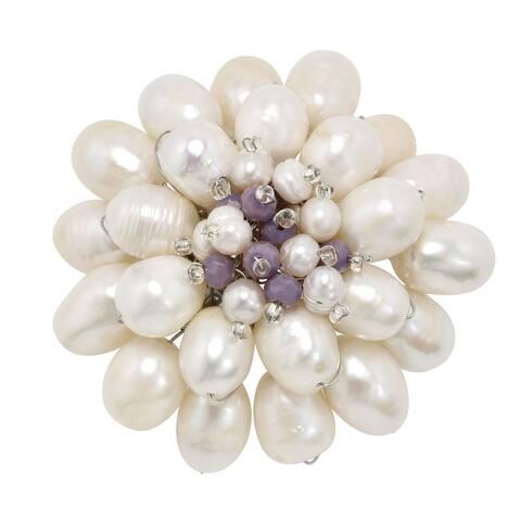 Handmade Extraordinary Mum Blossom White Pearl Colored Stone Brooch Pin (Thailand)