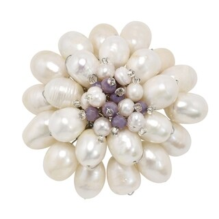 Handmade Extraordinary Mum Blossom White Pearl & Colored Stone Brooch Pin (Thailand)