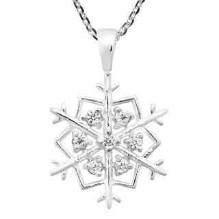 Handmade Sparkling Snowflake Cubic Zirconia Sterling Silver Necklace (Thailand)