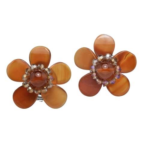 Handmade Elegantly Colorful Seafoam Flower Earrings (Thailand)