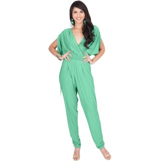 KOH KOH Womens Sexy V-Neck Short Sleeve Party Long Romper Jumpsuit