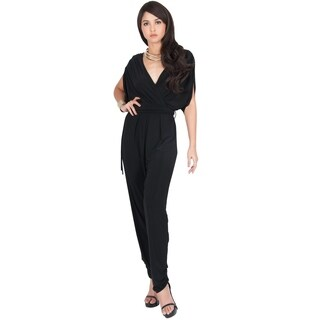 KOH KOH Womens Sexy V-Neck Short Sleeve Party Long Romper Jumpsuit