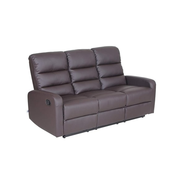 Shop Top Grain Leather PU Ergonomic Recliner Sofa (3 Seater), Brown ...