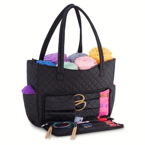 DeNOA Quilted Knitting Needle Yarns Bag Sewing Craft Storage Organizer