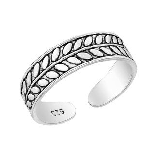 Handmade Peaceful Olive Branch Leaf Wrap Band Sterling Silver Toe or Pinky Ring (Thailand)