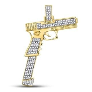 10kt Yellow Gold Mens Round Diamond Handgun Pistol Charm Pendant 5/8 Cttw