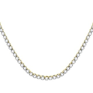 "10kt Yellow Gold Mens Round Diamond Solitaire Linked 30"" Necklace 13-3/8 Cttw"