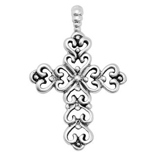 Handmade Beautiful Cross from Hearts Sterling Silver Sterling Silver Pendant (Thailand)