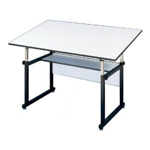 """Alvin WorkMaster Steel Table, Black Base, White Melamine Top - 37 1/2"""" x 72"""""""