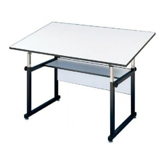 "Alvin WorkMaster Steel Table, Black Base, White Melamine Top - 37 1/2"" x 72"""