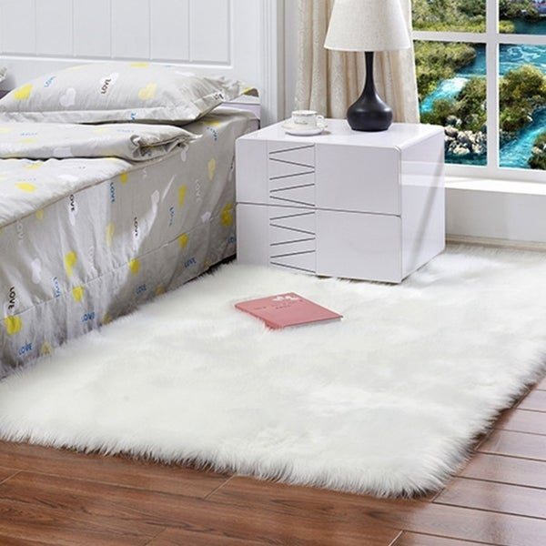 Shop Soft Rectangle Faux Sheepskin Rug Sofa Carpet Living Room ...