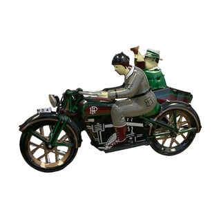 """Alexander Taron Motorcycle with Passenger in Sidecar Collectible Tin Toy - 3.75""""H x 3.5""""W x 7""""D"""