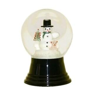 "Alexander Taron Perzy Viennese Handmade Glass Snowglobe, Medium Snowman with Bear - 5""H x 3""W x 3""D"