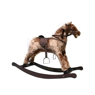 "Alexander Taron Large Brown Rocking Horse with Sound Effects - 31""H x 16""W x 41.5""D"