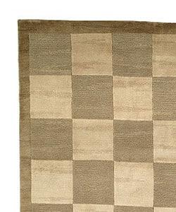 Safavieh Hand-knotted Tibetan Checkers Green/ Beige Tibetan Wool Rug (6' x 9') - Thumbnail 2