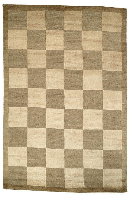 Safavieh Hand-knotted Tibetan Checkers Green/ Beige Tibetan Wool Rug - 8' x 10'