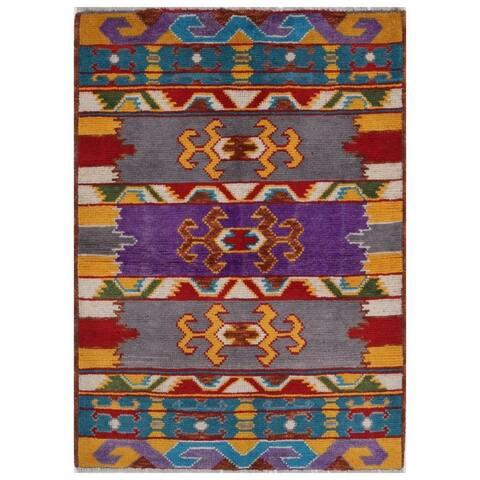 Handmade One-of-a-Kind Kargahi Wool Rug (Afghanistan) - 2'8 x 3'9