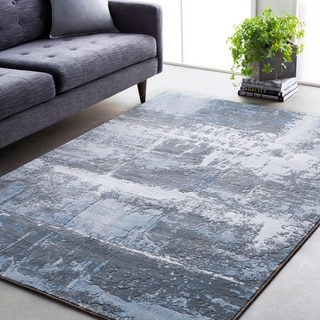 "Abstract Modern Contemporary Grey/Navy Area Rug - 9'2"" x 12'9"""