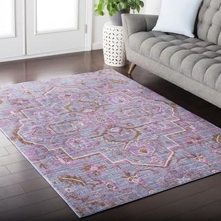 """Hali-House Distressed Persian Vintage Purple/Pink Area Rug - 9' x 13'1"""""""