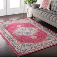 Hali-House Distressed Persian Vintage Pink/Aqua Area Rug - 9' x 13'1""