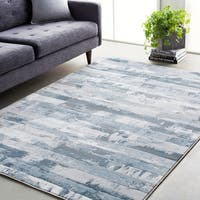 Abstract Modern Contemporary Grey/Denim Area Rug - 9'3 x 12'9