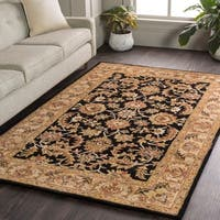 Hand-Tufted Ollie Black Traditional Border Rug - 2' x 3'