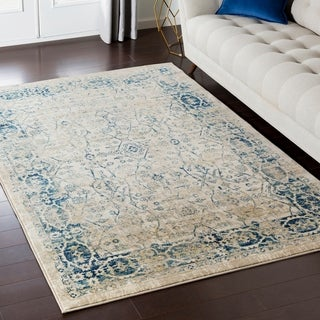 Millie Distressed Traditional Navy Accent Rug - 2' x 3'