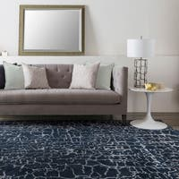 Hand-tufted Contemporary Mastiff New Zealand Wool Abstract Navy Area Rug - 6' x 9'