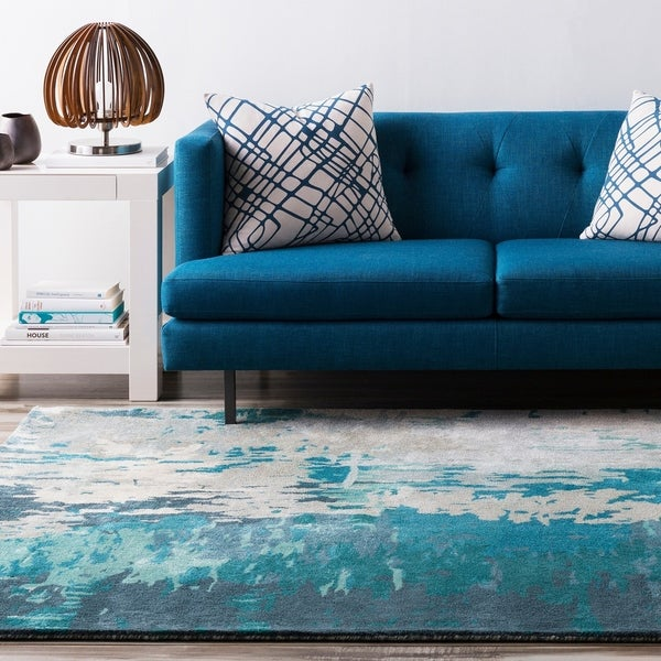 Hand Tufted Lucas Abstract New Zealand Wool Teal Area Rug - 6' x 9'