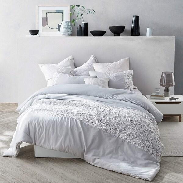 White Lace Comforter - Glacier Gray