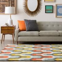 Hand-tufted Geometric Contemporary Orange/Olive Area Rug - 6' x 9'