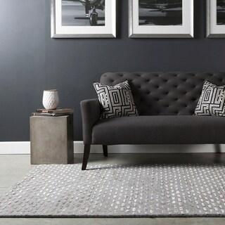 Hand-tufted Solid Grey Dandie Wool Area Rug - 6' x 9'