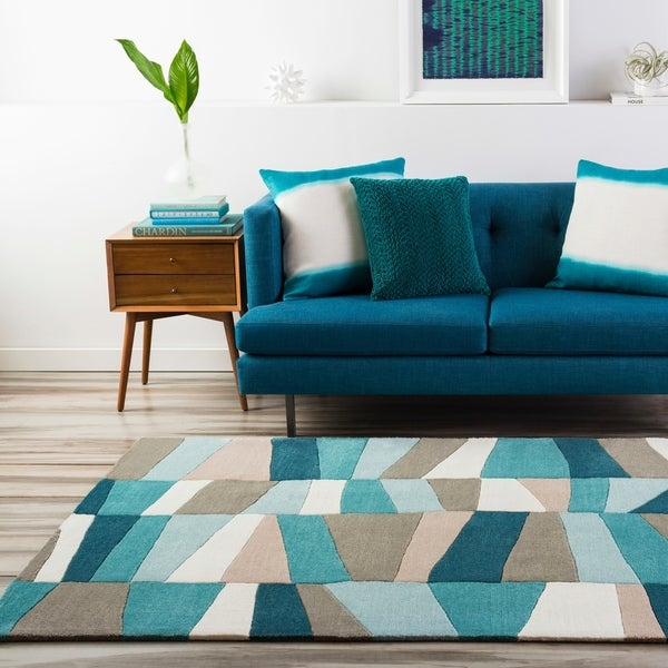 Shop Hand Tufted Geometric Contemporary Teal Brown Area