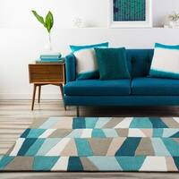 Hand-Tufted Geometric Contemporary Teal/Brown Area Rug - 6' x 9'