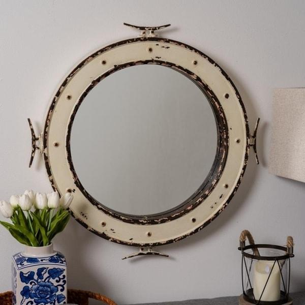"Ventura 27"" Diameter Nautical Wall Mirror- Cooper Classics - Off White/Off-White/White"