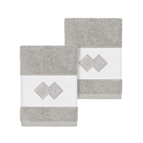 Authentic Hotel and Spa Turkish Cotton Diamonds Embroidered Light Grey 2-piece Washcloth Set
