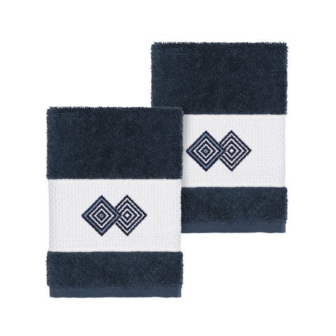 Authentic Hotel and Spa Turkish Cotton Diamonds Embroidered Midnight Blue 2-piece Washcloth Set