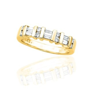Link to 14K Yellow Gold 1/2ct TDW Round and Baguette Diamond Wedding Band (G-H, I2-I3) Similar Items in Wedding Rings