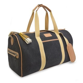 Adrienne Vittadini Canvas Collection Black 22-inch Duffel Bag