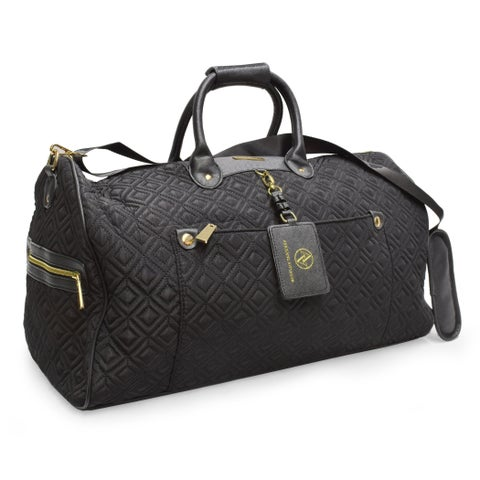 Adrienne Vittadini Diamond Quilted Black 22-inch Duffel Bag